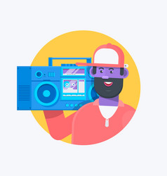 Rapper musician in a baseball cap with boombox vector