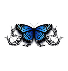 realistic butterfly icon on top abstract tribal vector image
