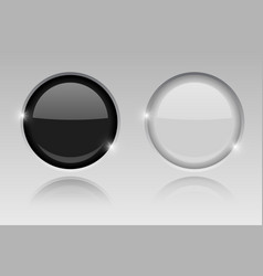 Round glass buttons embedded black and white push vector