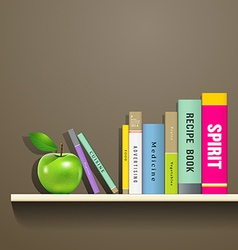row colorful books and green apple vector image