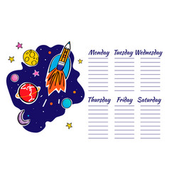 school timetable space graphic doodle rocket and vector image