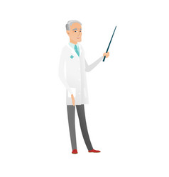 senior caucasian doctor holding pointer stick vector image