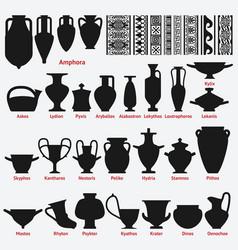 set antique greek vases and border decoration vector image