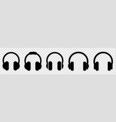 set black headphone icons vector image