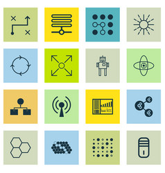 Set of 16 robotics icons includes cyborg vector