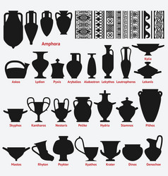 Set of antique greek vases and border decoration vector