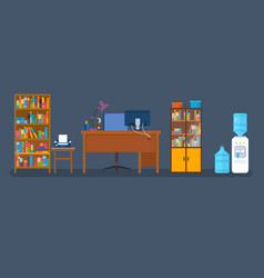 Set of objects for creating an office interior vector