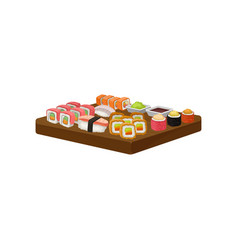 Set of sushi rolls wasabi and soy sauce on wooden vector