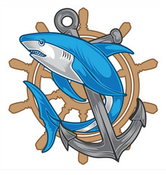 Shark vintage anchor steering wheel cartoon vector