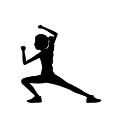 silhouette woman martial arts kick down vector image