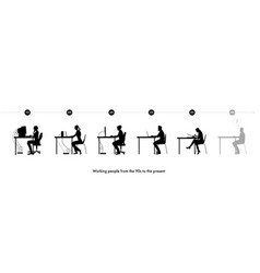 silhouettes of men and women working on computers vector image