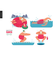 Sporting santa - winter water activity vector