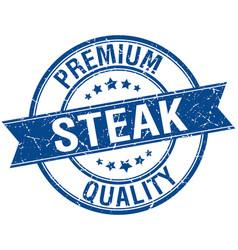 Steak grunge retro blue isolated ribbon stamp vector