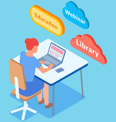 student is learning working at home books vector image