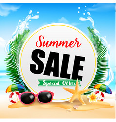summer sale on white circle frame 001 vector image