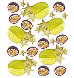 Tropic fruits pattern realistic starfruit vector