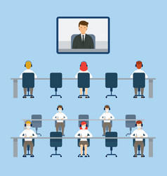 Video conference social distancing concept vector