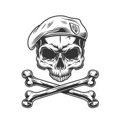 Vintage navy seal skull in beret vector