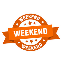 weekend ribbon weekend round orange sign weekend vector image