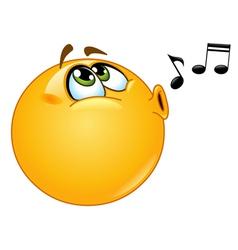 Whistling emoticon vector