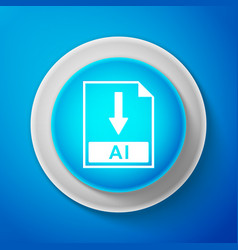 white ai file document icon download ai button vector image