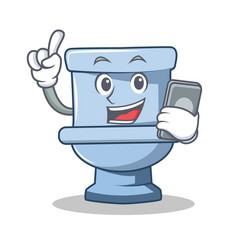with phone toilet character cartoon style vector image