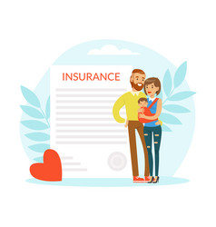 young man and woman holding little baby in arms vector image