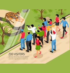 zoo visitors isometric vector image
