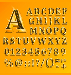 golden english alphabet on yellow background vector image