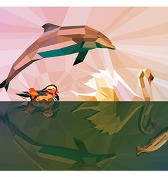 Water is our life - low poly animals vector