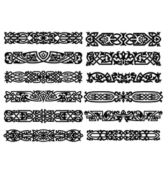 Black and white ornaments or borders vector image