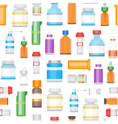 cartoon medicine bottles for drugs background vector image
