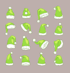 christmas santa claus green elf hat noel vector image