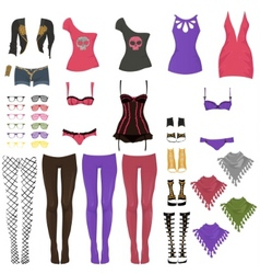 female glam rock clothes vector image vector image