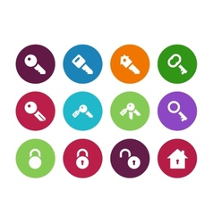 Key circle icons on white background vector image vector image