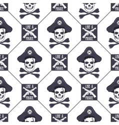 seamless pattern with skulls old pistols vector image vector image