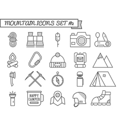 Set of Camp travel icons thin line style flat vector image