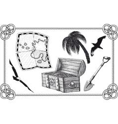 set of pirate treasure vector image vector image