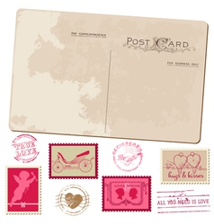 Vintage Postcard and Postage Stamps - for wedding vector image vector image