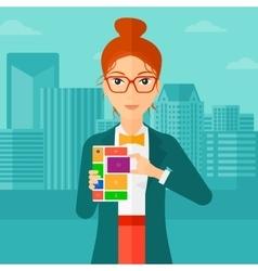Woman with modular phone vector image