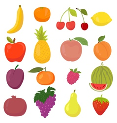 Set of hand drawn cartoon fruits vector image