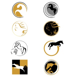 set of logos with a horse vector image