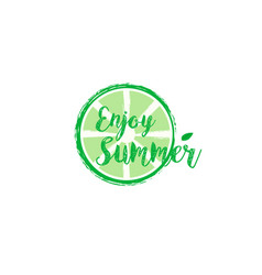 summer card with hand drawn brush lettering vector image