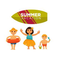 three children spending happily summer vacations vector image vector image