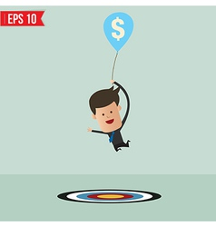 Cartoon Businessman flying away by using money vector image