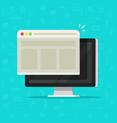 web browser window on computer display vector image