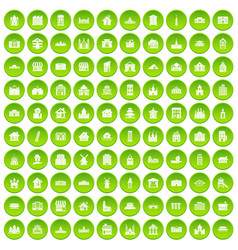 100 building icons set green circle vector