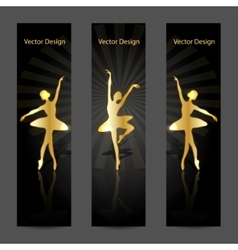 A set of banners with gold ballerinas vector image