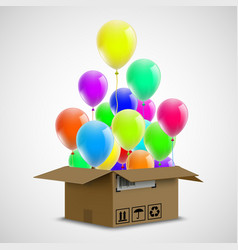 air balloons in a cardboard box cargo delivery vector image