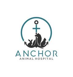 Anchor animal hospital logo design simple vector